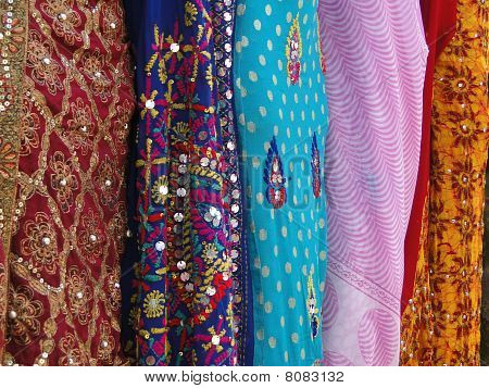 Fine silk brocade saree fabric in Lad Bazaar in Charminar Hyderabad Andhra Pradesh India Asia poster