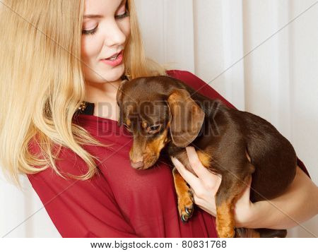 Elegant Woman With Her Mixed Dog