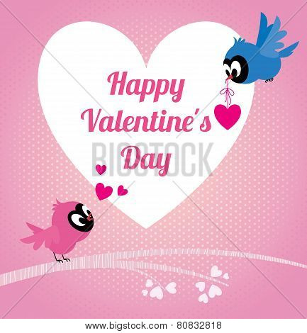 Lovers Birds Happy Valentines