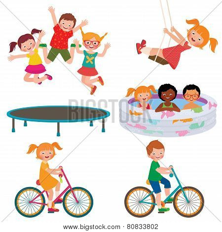 Stock Vector cartoon illustration of summer children activities poster