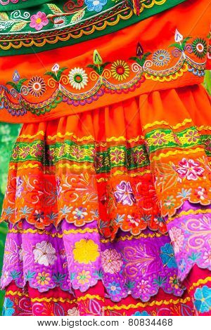 Traditional Folk Costume And Embroidery From Ecuador, South America