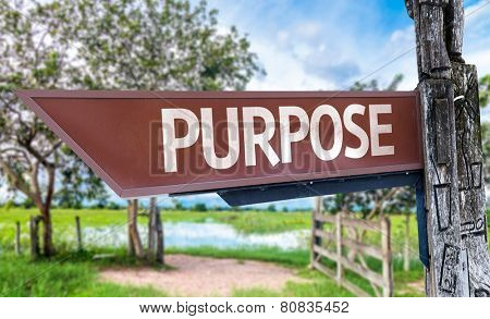 Purpose wooden sign with rural background