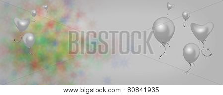 Panoramic background banner for sympathy loss mourning sorrow or saying goodbye with balloons and hearts suitable poster