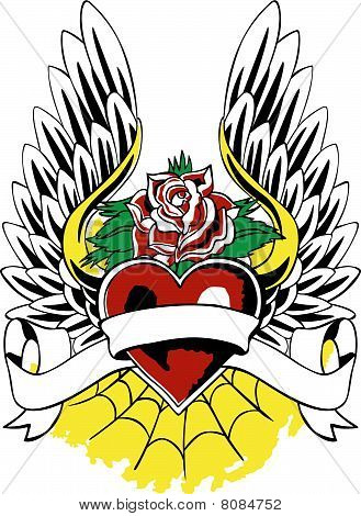 rose heart and wing emblem