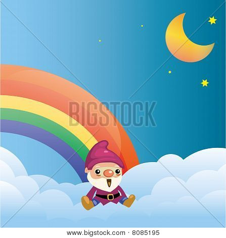 Dwarf on the cloud with rainbow at night