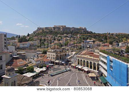 Monastiraki famous square Athens Greece