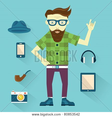 Hipster With Hipster Elements For Design