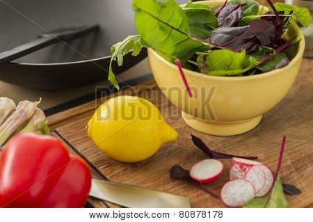 Fresh Ingredients For Making A Salad