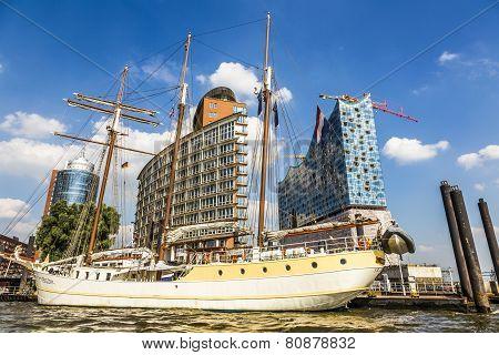 Concert Hall Elbphilharmonie Under Construction With Sailor Mare Frisum