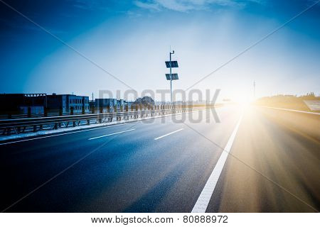 empty road with motion blur background.