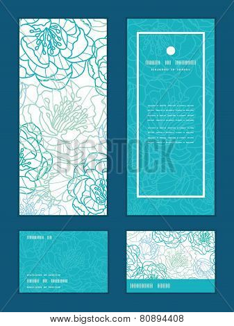 Vector blue line art flowers vertical frame pattern invitation greeting, RSVP and thank you cards se