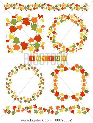 Set Of Wreaths With Colorful Autumn Leaves