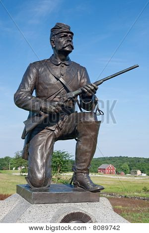 Statue Of Union Calvary Soldier At Gettysburg