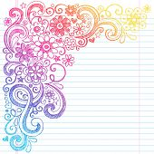 Flower Power Back to School Sketchy Notebook Doodles with Flower Blossoms, Vines, and  Swirls- Hand-Drawn Illustration Design Elements on Lined Sketchbook Paper Background poster