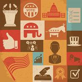 Retro political election campaign icons set. Vector illustration. This file was saved as EPS 10 poster