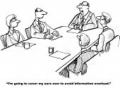 Cartoon of businesspeople at a meeting and the leader is going to cover his ears to avoid information overload. poster