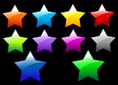 A set of  simple shiny Stars buttons on black background poster