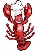 Red Lobster chef wearing hat over white background poster