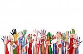 Hands Flag Symbol Diverse Diversity Ethnic Ethnicity Unity Concept poster