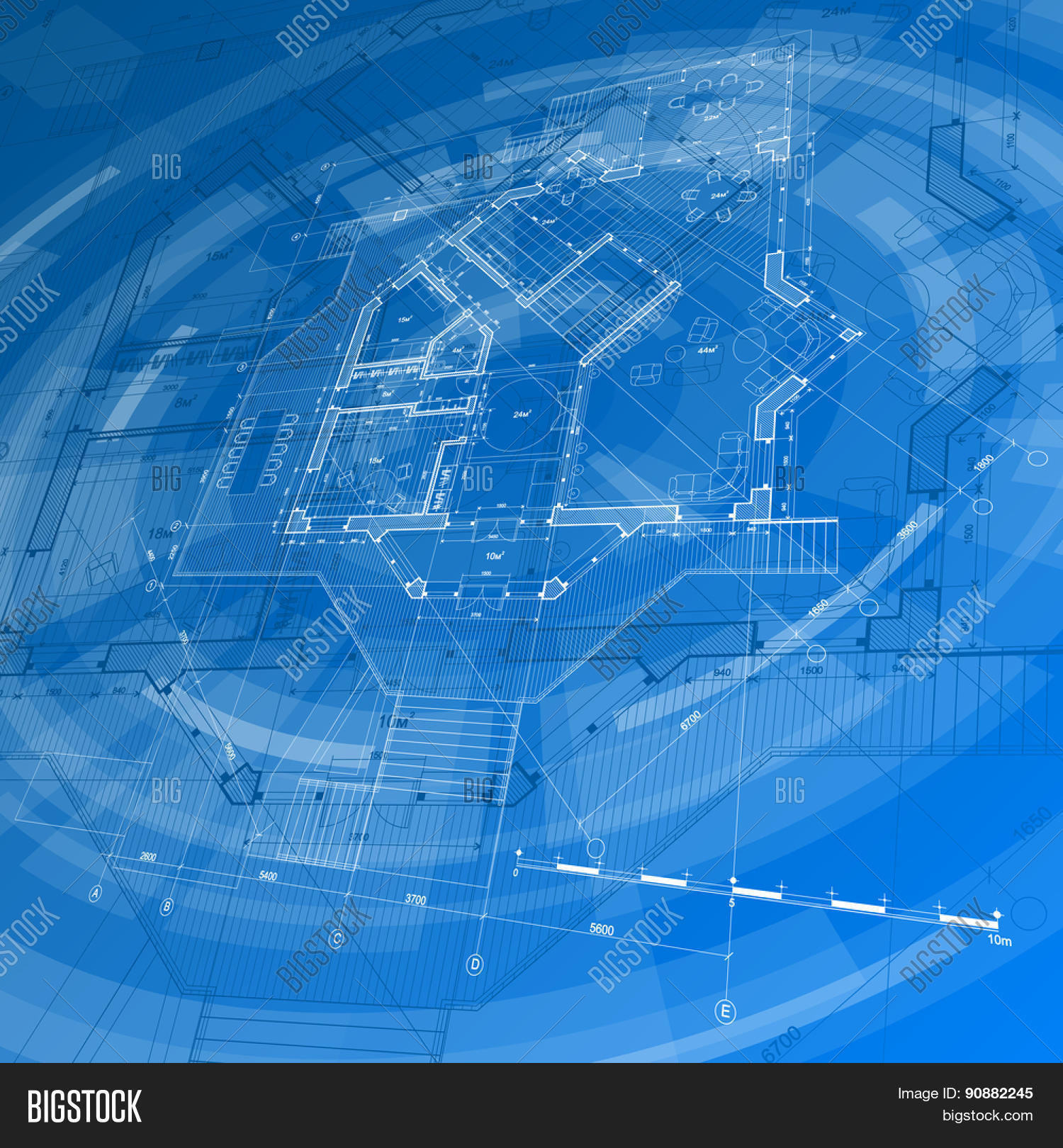 Vector y foto architecture design blueprint bigstock architecture design blueprint house plan blue technology radial background vector illustration malvernweather Image collections