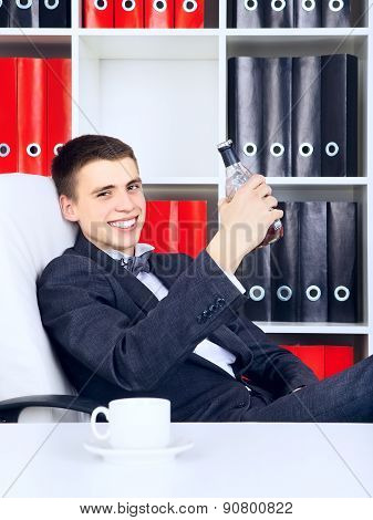 Young Businessman Triumph