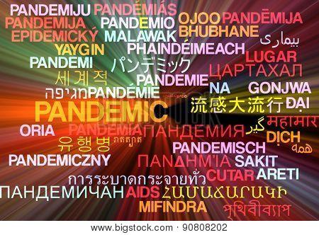 Background concept wordcloud multilanguage international many language illustration of pandemic glowing light