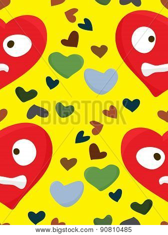 Red Upset Heart Face Pattern