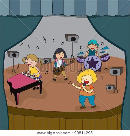 Cartoon Children Band Is Playing Concert On Stage In School Fair, Create By Vector