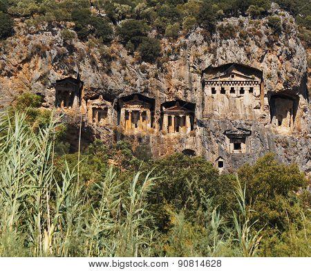 Rock tombs on the cliffs of Kaunos