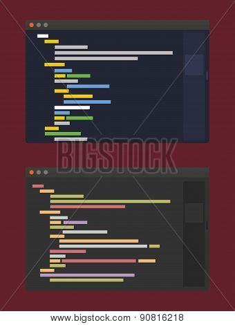 two color themes of developer code editor, flat design illustration