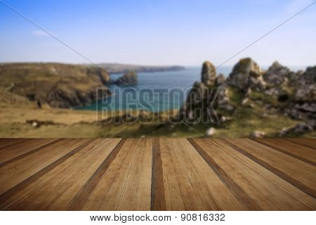Kynance Cove Cliffs Looking Across Bay With Wooden Planks Floor