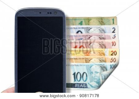 Smatrphone and brazilian money. Idea for comparing prices apps, financial apps, scanning money apps, accessing apps, Internet, blogs and others.
