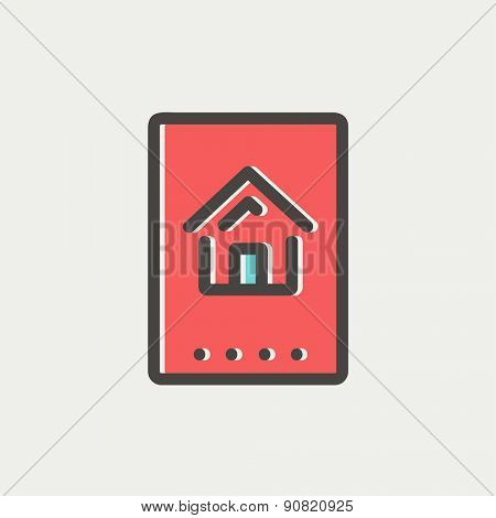 Electronic keycard icon thin line for web and mobile, modern minimalistic flat design. Vector icon with dark grey outline and offset colour on light grey background.