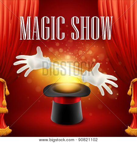 Magic trick, performance, circus, show concept. Vector illustration