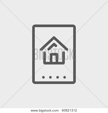 Electronic keycard icon thin line for web and mobile, modern minimalistic flat design. Vector dark grey icon on light grey background.