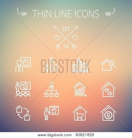 Real estate thin line icon set for web and mobile. Set includes- agents, training, seminar, building, growth graph, house with magnifying glass icons. Modern minimalistic flat design. Vector white