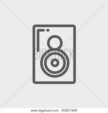 Two way audio speaker icon thin line for web and mobile, modern minimalistic flat design. Vector dark grey icon on light grey background.