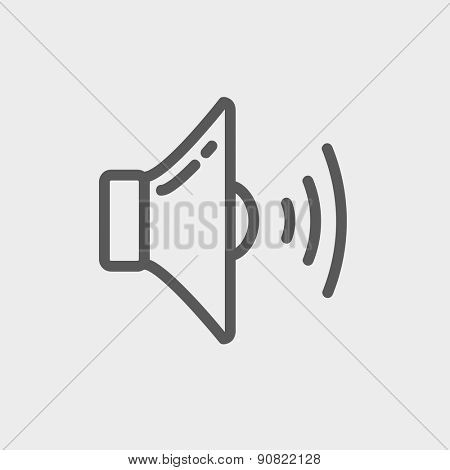 Loudspeaker icon thin line for web and mobile, modern minimalistic flat design. Vector dark grey icon on light grey background.