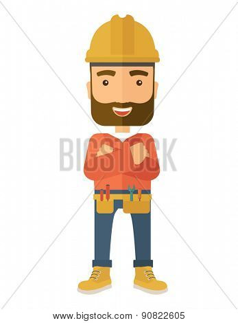 A happy and confident worker standing with crossed arms. . A Contemporary style. Vector flat design illustration isolated white background. Vertical layout.