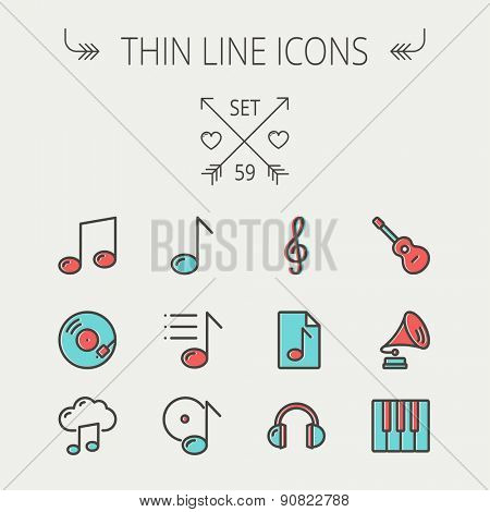 Music and entertainment thin line icon set for web and mobile. Set include-musical notes, phonograph record, g- clef, headphone, gramophone, guitar, piano icons. Modern minimalistic flat design