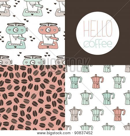 Fun seamless coffee maker machine and percolator coffee beans illustration background pattern and hello coffee postcard cover design in vector