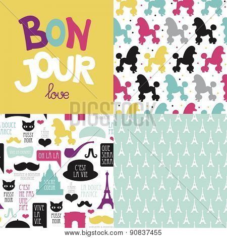 Bonjour love Paris theme postcard cover design and French illustration background pattern in vector