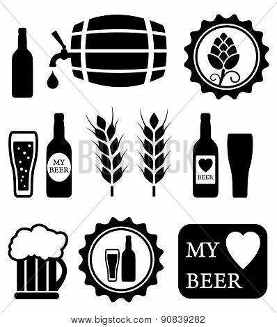 beer isolated objects set