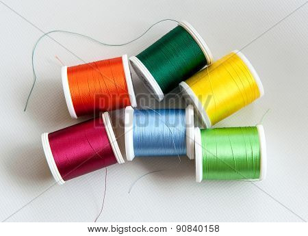 Reels Of Colorful Cotton Or Yarn