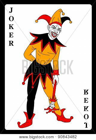 Joker in colorful costume playing card