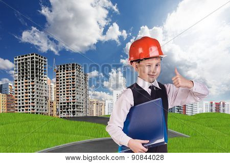 The boy in hardhat holding folder and giving thumb up poster