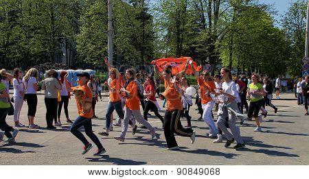 Chisinau Moldova- April 26. 2015. Marathon runners on the street Stefan cel Mare. Chisinau Moldova