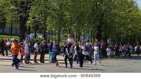 Chisinau, Moldova- April 26, 2015. Marathon Runners On The Street Stefan Cel Mare. Chisinau, Moldova