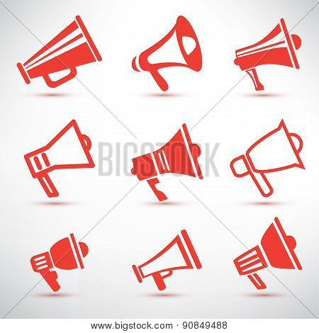 Set Of Megaphone, Loudspeaker Isolated Symbolsl And Icons