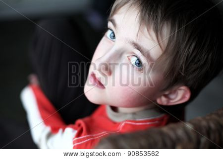 Portrait of beautiful thoughtful little boy with attentive look